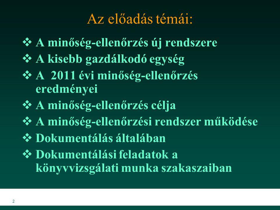 MKVK MEB 2007 2 Az előadás témái:  A minőség-ellenőrzés új rendszere  A kisebb gazdálkodó egység  A 2011 évi minőség-ellenőrzés eredményei  A minő