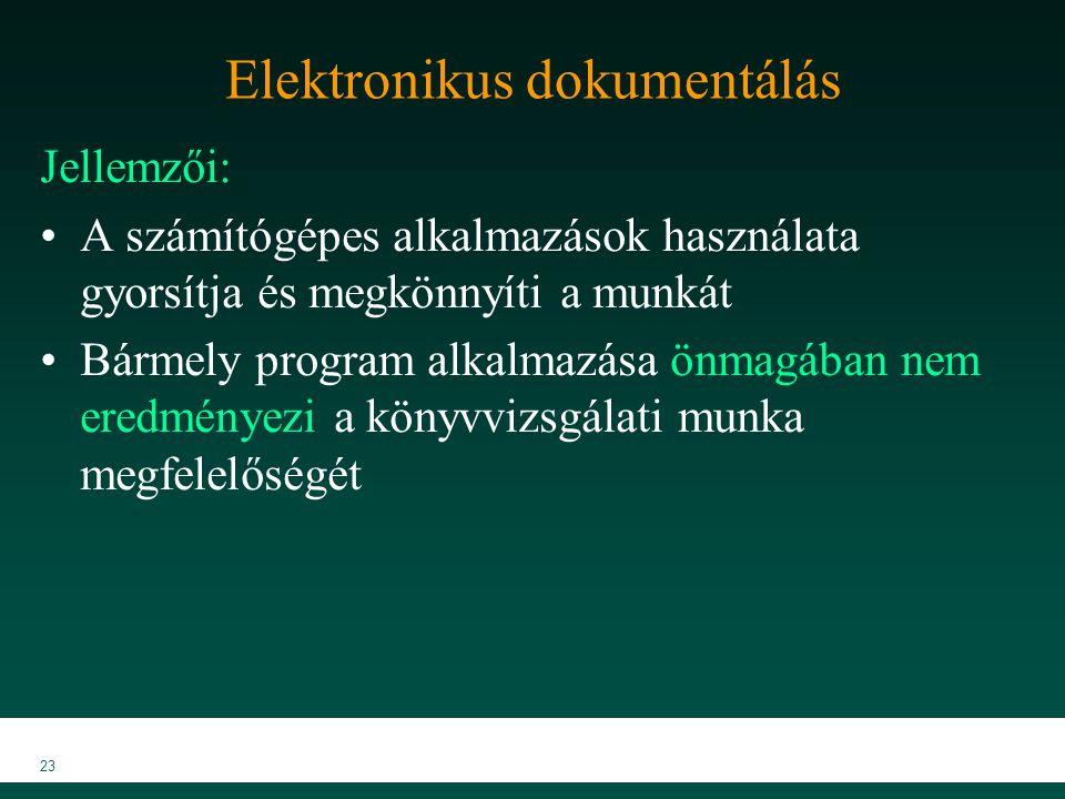 MKVK MEB 2007 23 Elektronikus dokumentálás Jellemzői: A számítógépes alkalmazások használata gyorsítja és megkönnyíti a munkát Bármely program alkalma