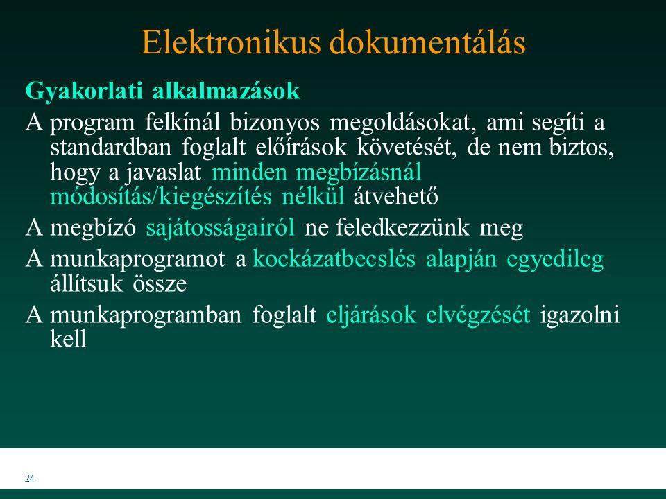 MKVK MEB 2007 24 Elektronikus dokumentálás Gyakorlati alkalmazások A program felkínál bizonyos megoldásokat, ami segíti a standardban foglalt előíráso