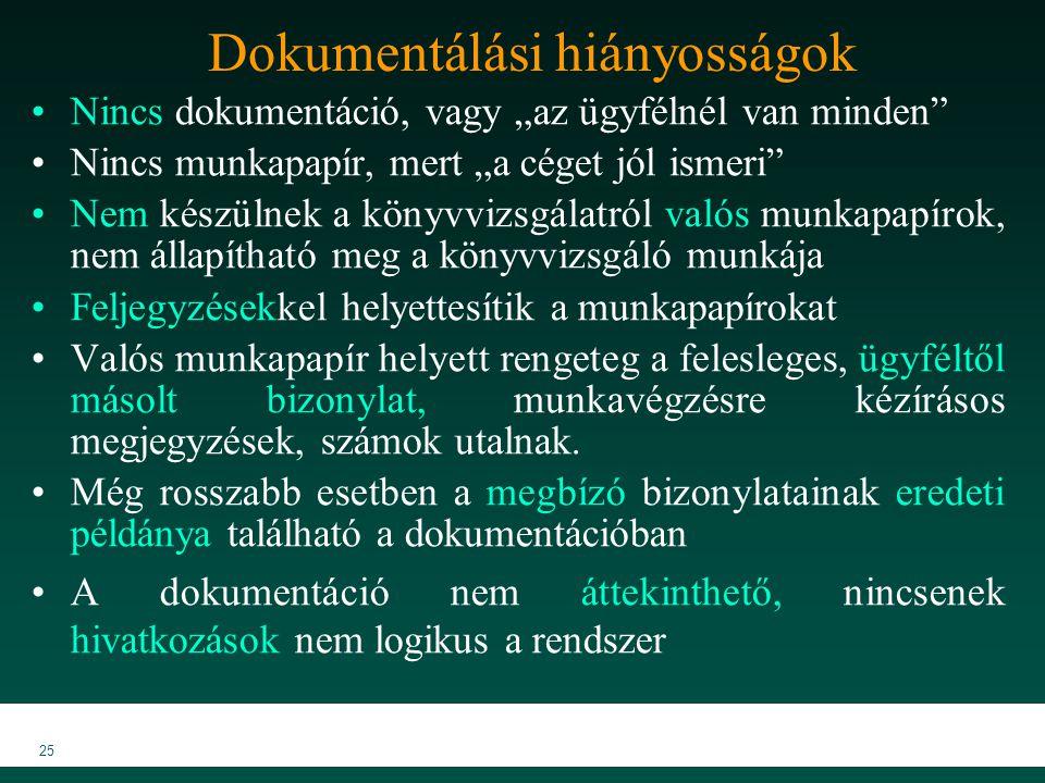 """MKVK MEB 2007 25 Dokumentálási hiányosságok Nincs dokumentáció, vagy """"az ügyfélnél van minden"""" Nincs munkapapír, mert """"a céget jól ismeri"""" Nem készüln"""