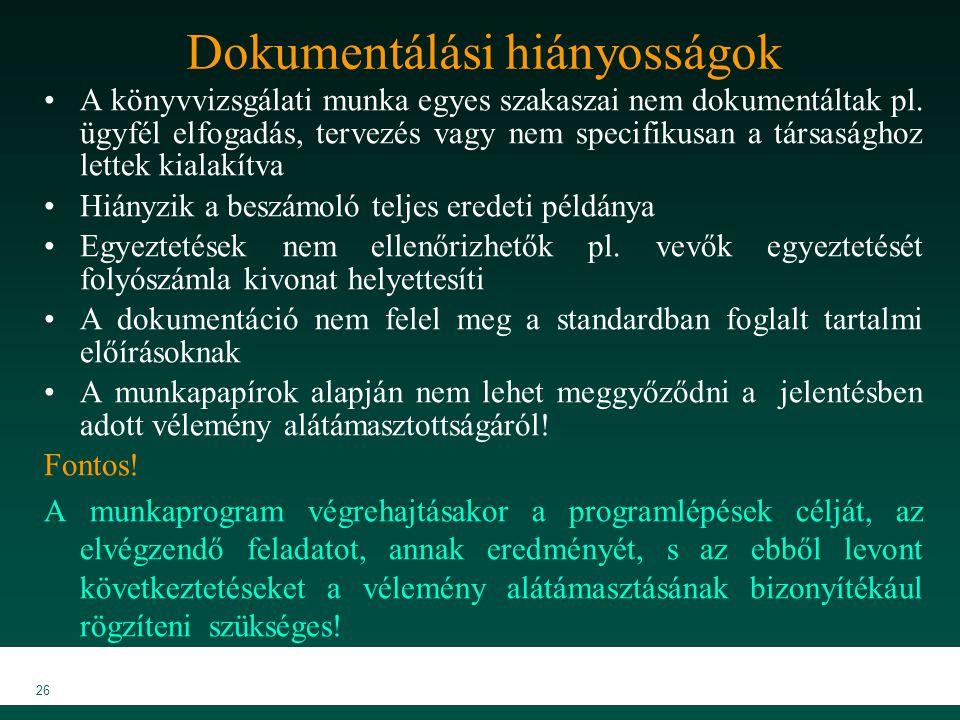 MKVK MEB 2007 26 Dokumentálási hiányosságok A könyvvizsgálati munka egyes szakaszai nem dokumentáltak pl. ügyfél elfogadás, tervezés vagy nem specifik