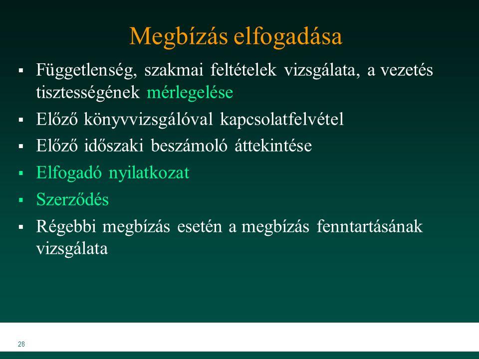 MKVK MEB 2007 28 Megbízás elfogadása  Függetlenség, szakmai feltételek vizsgálata, a vezetés tisztességének mérlegelése  Előző könyvvizsgálóval kapc