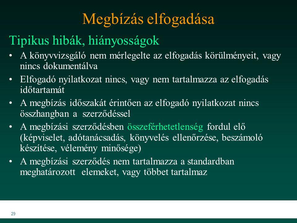 MKVK MEB 2007 29 Megbízás elfogadása Tipikus hibák, hiányosságok A könyvvizsgáló nem mérlegelte az elfogadás körülményeit, vagy nincs dokumentálva Elf