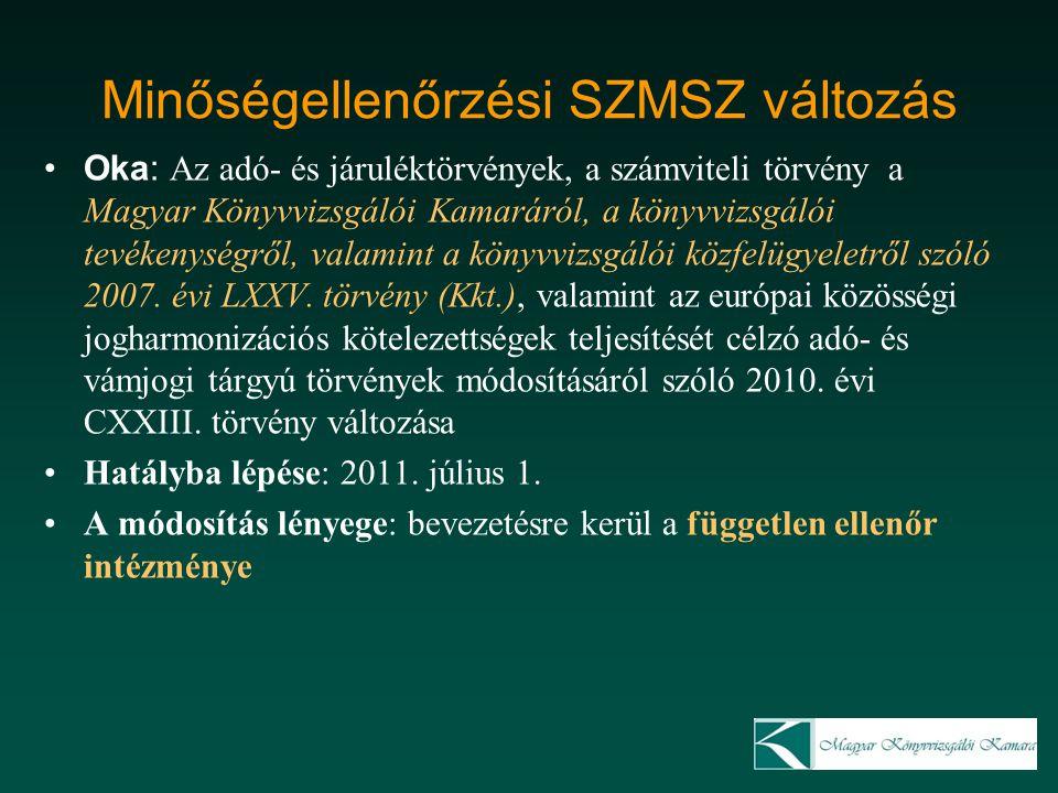 Minőségellenőrzési SZMSZ változás Oka: Az adó- és járuléktörvények, a számviteli törvény a Magyar Könyvvizsgálói Kamaráról, a könyvvizsgálói tevékenys