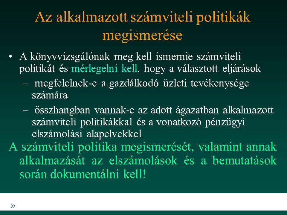 MKVK MEB 2007 39 Az alkalmazott számviteli politikák megismerése A könyvvizsgálónak meg kell ismernie számviteli politikát és mérlegelni kell, hogy a