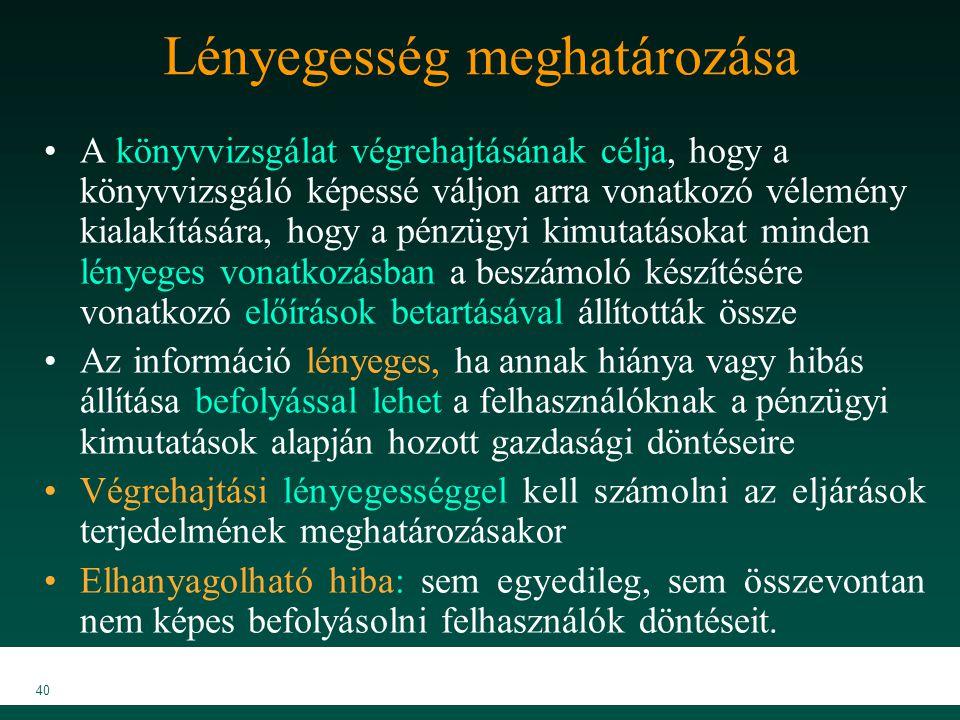 MKVK MEB 2007 40 Lényegesség meghatározása A könyvvizsgálat végrehajtásának célja, hogy a könyvvizsgáló képessé váljon arra vonatkozó vélemény kialakí