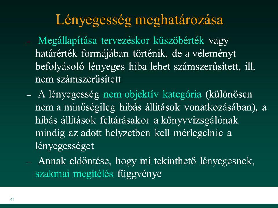 MKVK MEB 2007 41 Lényegesség meghatározása – Megállapítása tervezéskor küszöbérték vagy határérték formájában történik, de a véleményt befolyásoló lén