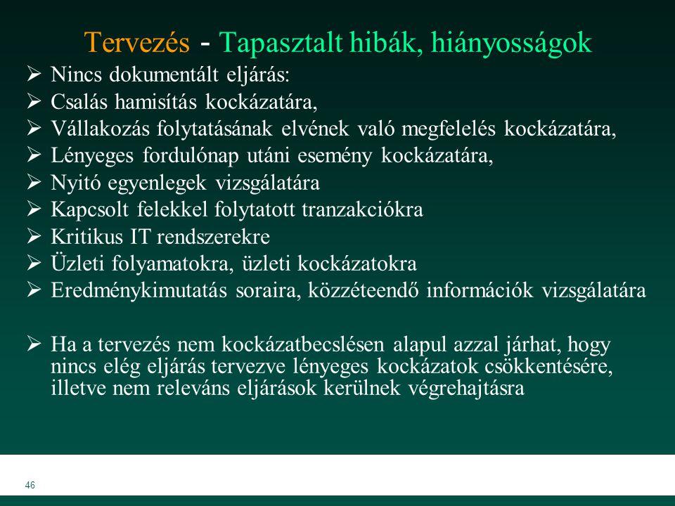 MKVK MEB 2007 46 Tervezés - Tapasztalt hibák, hiányosságok  Nincs dokumentált eljárás:  Csalás hamisítás kockázatára,  Vállakozás folytatásának elv