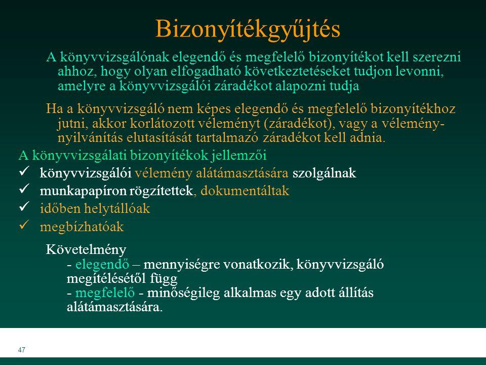 MKVK MEB 2007 47 Bizonyítékgyűjtés A könyvvizsgálónak elegendő és megfelelő bizonyítékot kell szerezni ahhoz, hogy olyan elfogadható következtetéseket