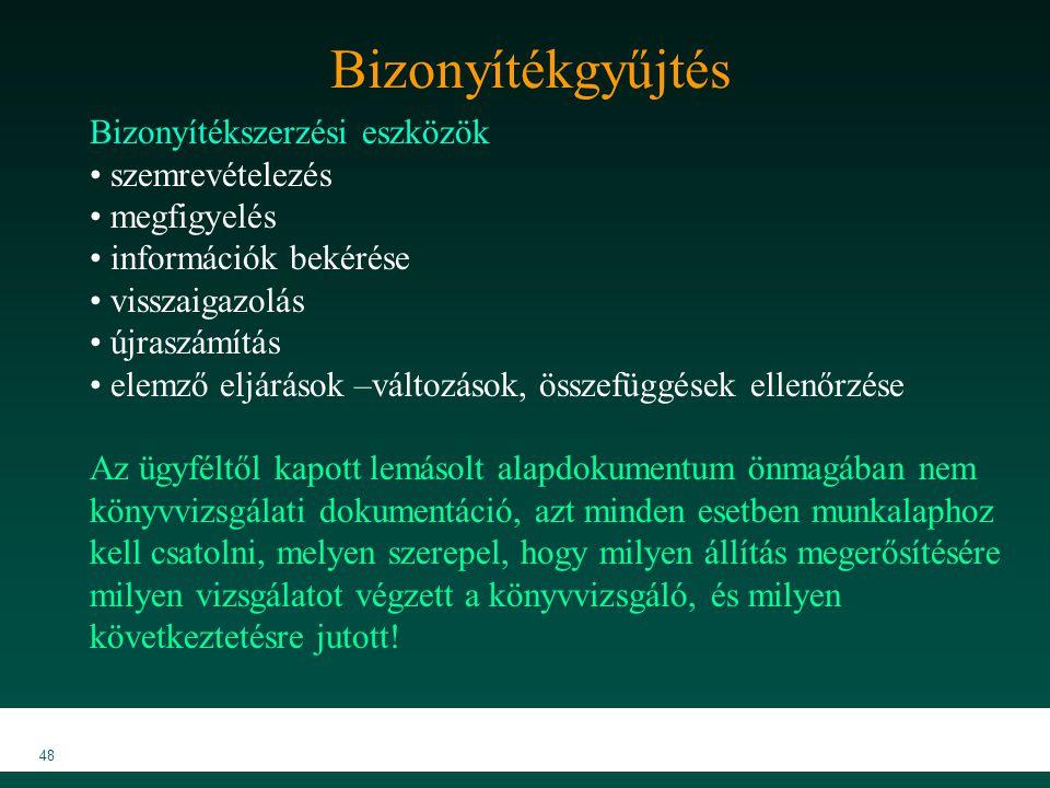MKVK MEB 2007 48 Bizonyítékgyűjtés Bizonyítékszerzési eszközök szemrevételezés megfigyelés információk bekérése visszaigazolás újraszámítás elemző elj