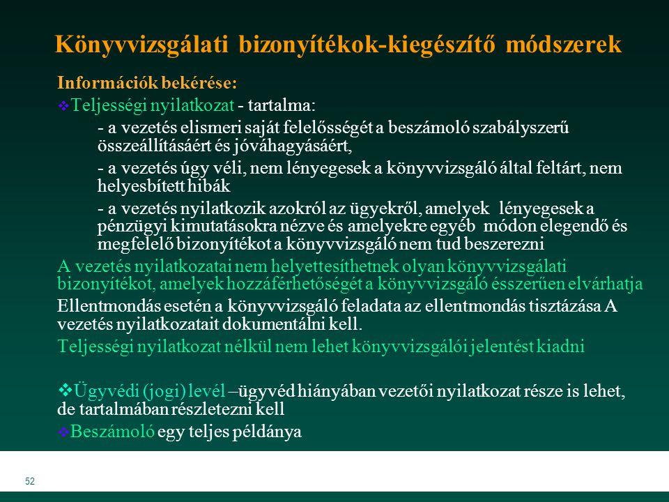 MKVK MEB 2007 52 Könyvvizsgálati bizonyítékok-kiegészítő módszerek Információk bekérése:  Teljességi nyilatkozat - tartalma: - a vezetés elismeri saj