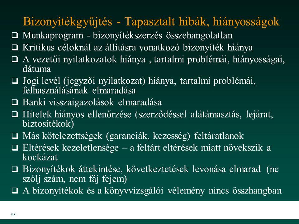 MKVK MEB 2007 53 Bizonyítékgyűjtés - Tapasztalt hibák, hiányosságok  Munkaprogram - bizonyítékszerzés összehangolatlan  Kritikus céloknál az állítás