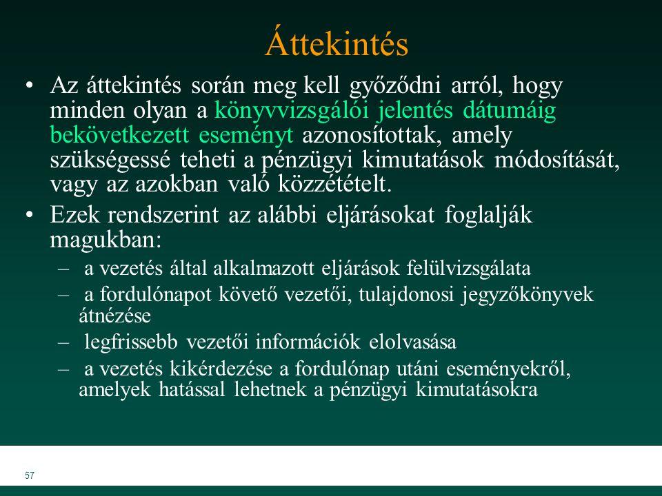 MKVK MEB 2007 57 Áttekintés Az áttekintés során meg kell győződni arról, hogy minden olyan a könyvvizsgálói jelentés dátumáig bekövetkezett eseményt a