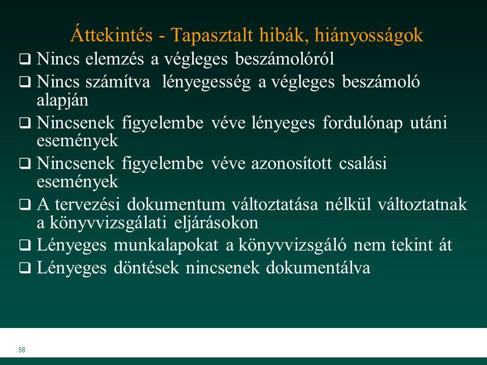 MKVK MEB 2007 58 Áttekintés - Tapasztalt hibák, hiányosságok  Nincs elemzés a végleges beszámolóról  Nincs számítva lényegesség a végleges beszámoló