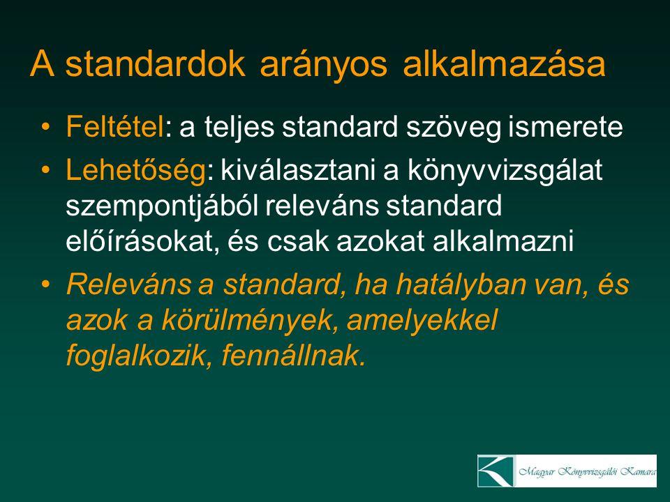 A standardok arányos alkalmazása Feltétel: a teljes standard szöveg ismerete Lehetőség: kiválasztani a könyvvizsgálat szempontjából releváns standard
