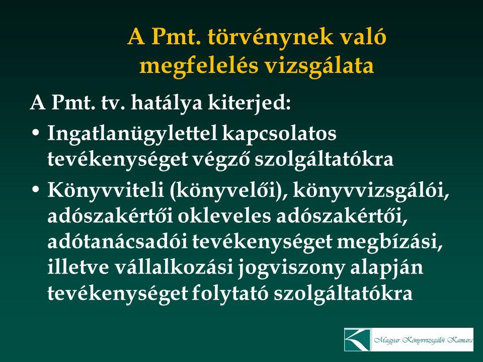 A Pmt. törvénynek való megfelelés vizsgálata A Pmt. tv. hatálya kiterjed: Ingatlanügylettel kapcsolatos tevékenységet végző szolgáltatókra Könyvviteli