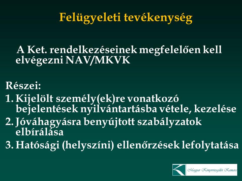 Felügyeleti tevékenység A Ket. rendelkezéseinek megfelelően kell elvégezni NAV/MKVK Részei: 1.Kijelölt személy(ek)re vonatkozó bejelentések nyilvántar