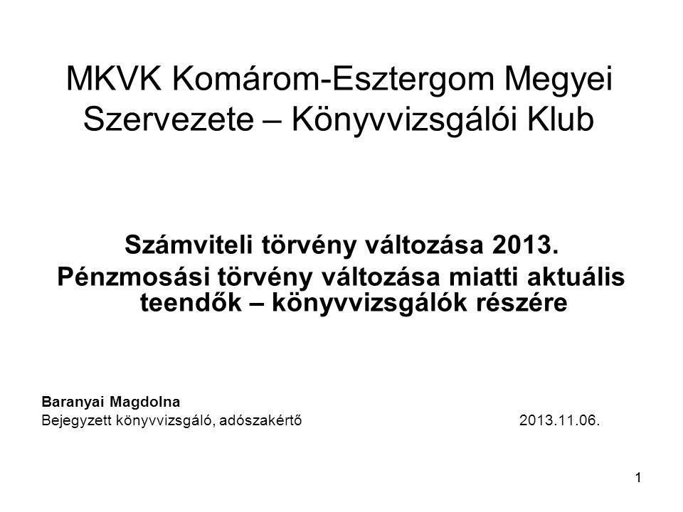 11 MKVK Komárom-Esztergom Megyei Szervezete – Könyvvizsgálói Klub Számviteli törvény változása 2013.