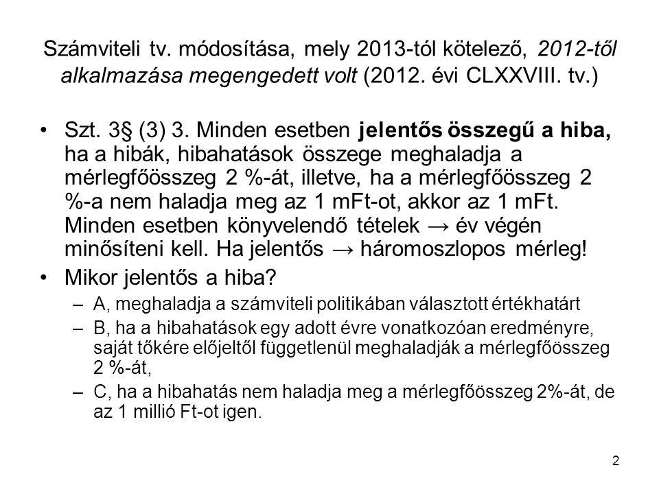 2 Számviteli tv.módosítása, mely 2013-tól kötelező, 2012-től alkalmazása megengedett volt (2012.