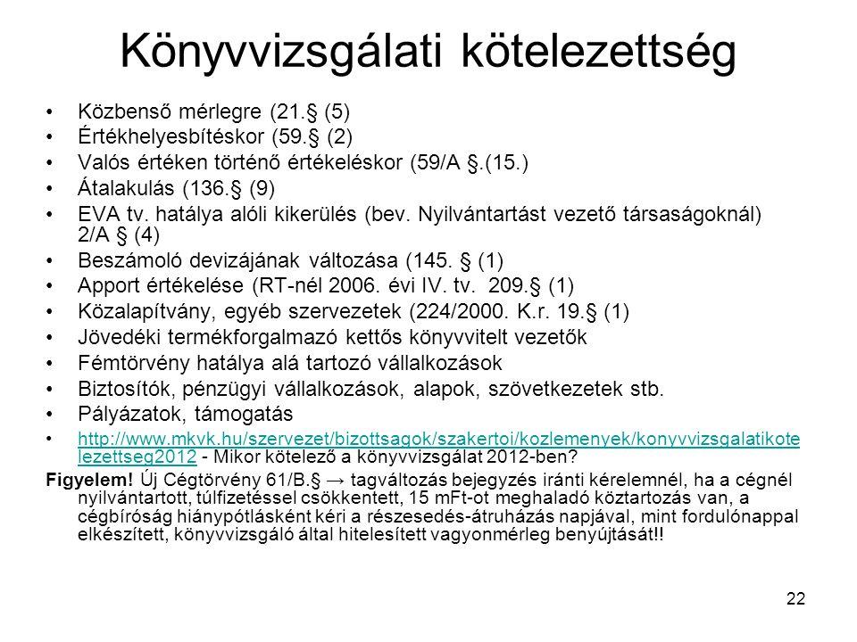 22 Könyvvizsgálati kötelezettség Közbenső mérlegre (21.§ (5) Értékhelyesbítéskor (59.§ (2) Valós értéken történő értékeléskor (59/A §.(15.) Átalakulás (136.§ (9) EVA tv.