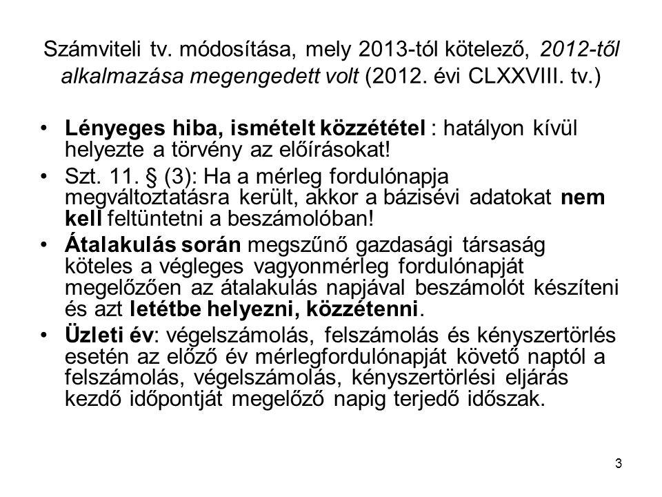4 Számviteli tv.módosítása, mely 2013-tól kötelező, 2012-től alkalmazása megengedett volt (2012.