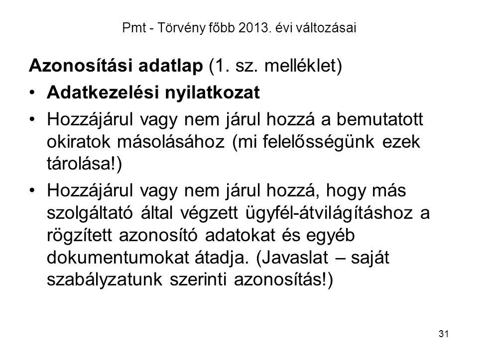 31 Pmt - Törvény főbb 2013.évi változásai Azonosítási adatlap (1.