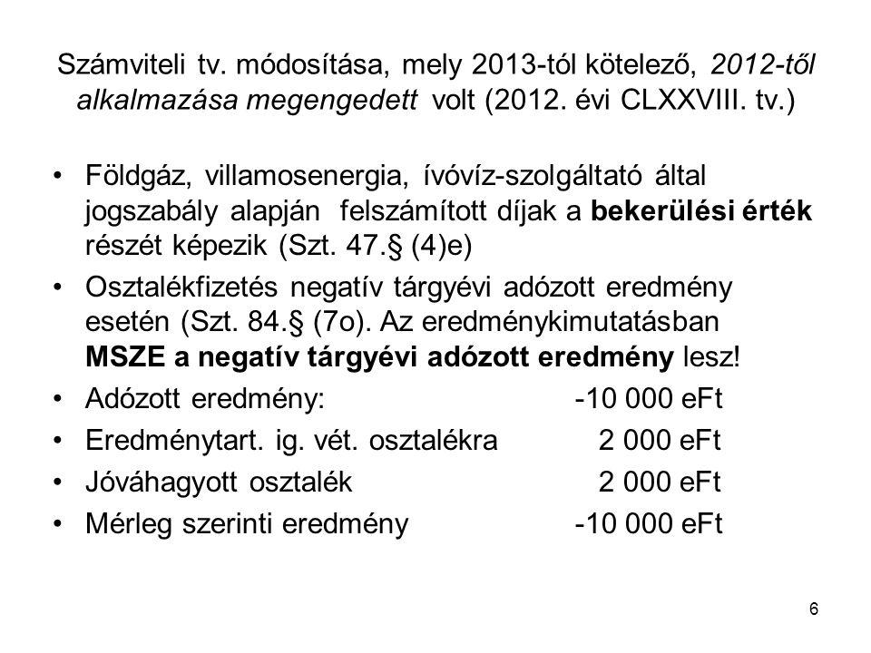 17 Mikrogazdálkodói egyszerűsített éves beszámoló Áttérési szabályok: –Alapítás-átszervezés és K+F aktivált értékének könyv szerinti értékét egyéb ráfordításként kell elszámolni, a lekötött tartalékot fel kell oldani.