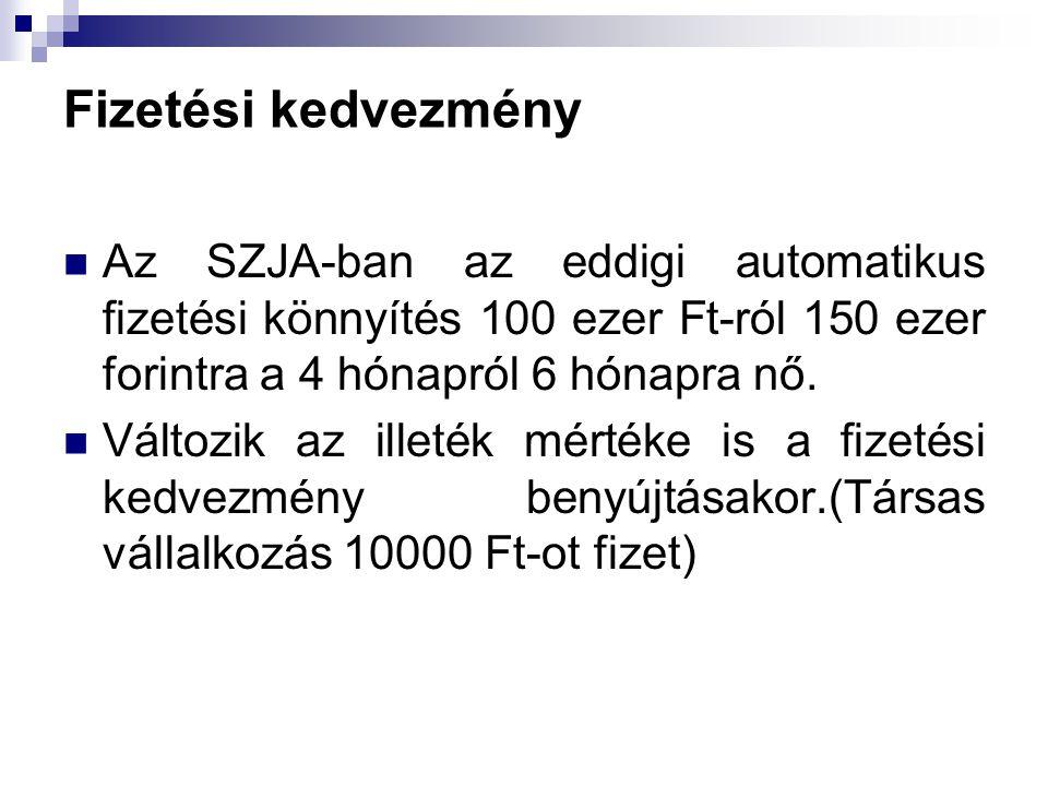 Fizetési kedvezmény Az SZJA-ban az eddigi automatikus fizetési könnyítés 100 ezer Ft-ról 150 ezer forintra a 4 hónapról 6 hónapra nő. Változik az ille