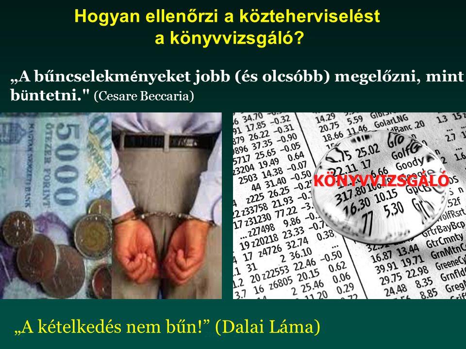 """142014. 07. 27. """"A kételkedés nem bűn!"""" (Dalai Láma) KÖNYVVIZSGÁLÓ Hogyan ellenőrzi a közteherviselést a könyvvizsgáló? """"A bűncselekm é nyeket jobb (é"""