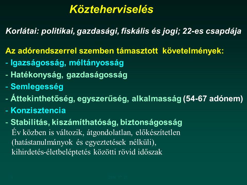 42014. 07. 27. Korlátai: politikai, gazdasági, fiskális és jogi; 22-es csapdája Az adórendszerrel szemben támasztott követelmények: - Igazságosság, mé