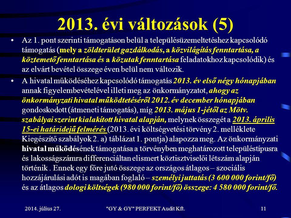 2013. évi változások (5) Az 1. pont szerinti támogatáson belül a településüzemeltetéshez kapcsolódó támogatás (mely a zöldterület gazdálkodás, a közvi
