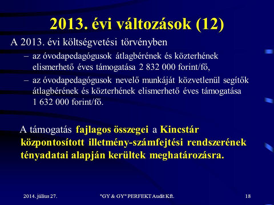 2013. évi változások (12) A 2013. évi költségvetési törvényben –az óvodapedagógusok átlagbérének és közterhének elismerhető éves támogatása 2 832 000