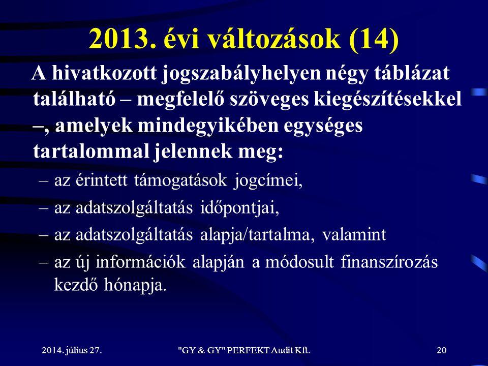 2013. évi változások (14) A hivatkozott jogszabályhelyen négy táblázat található – megfelelő szöveges kiegészítésekkel –, amelyek mindegyikében egység