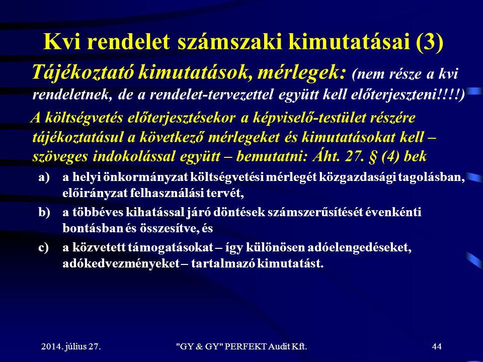 Kvi rendelet számszaki kimutatásai (3) Tájékoztató kimutatások, mérlegek: (nem része a kvi rendeletnek, de a rendelet-tervezettel együtt kell előterje