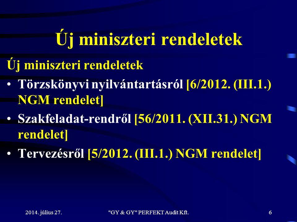 Új miniszteri rendeletek Törzskönyvi nyilvántartásról [6/2012. (III.1.) NGM rendelet] Szakfeladat-rendről [56/2011. (XII.31.) NGM rendelet] Tervezésrő