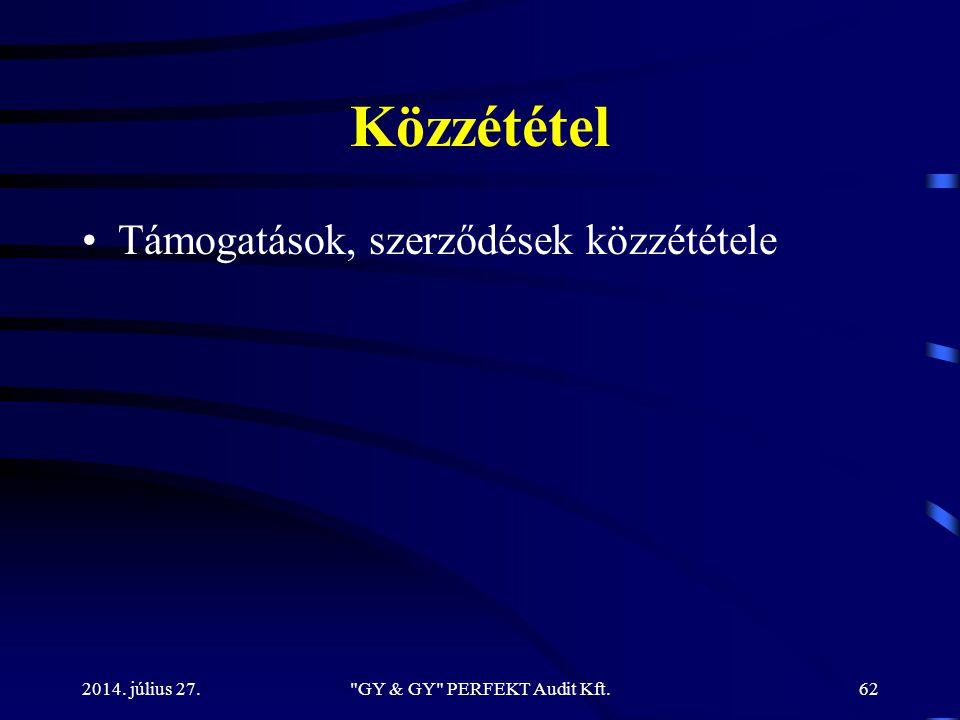 Közzététel Támogatások, szerződések közzététele 2014. július 27.