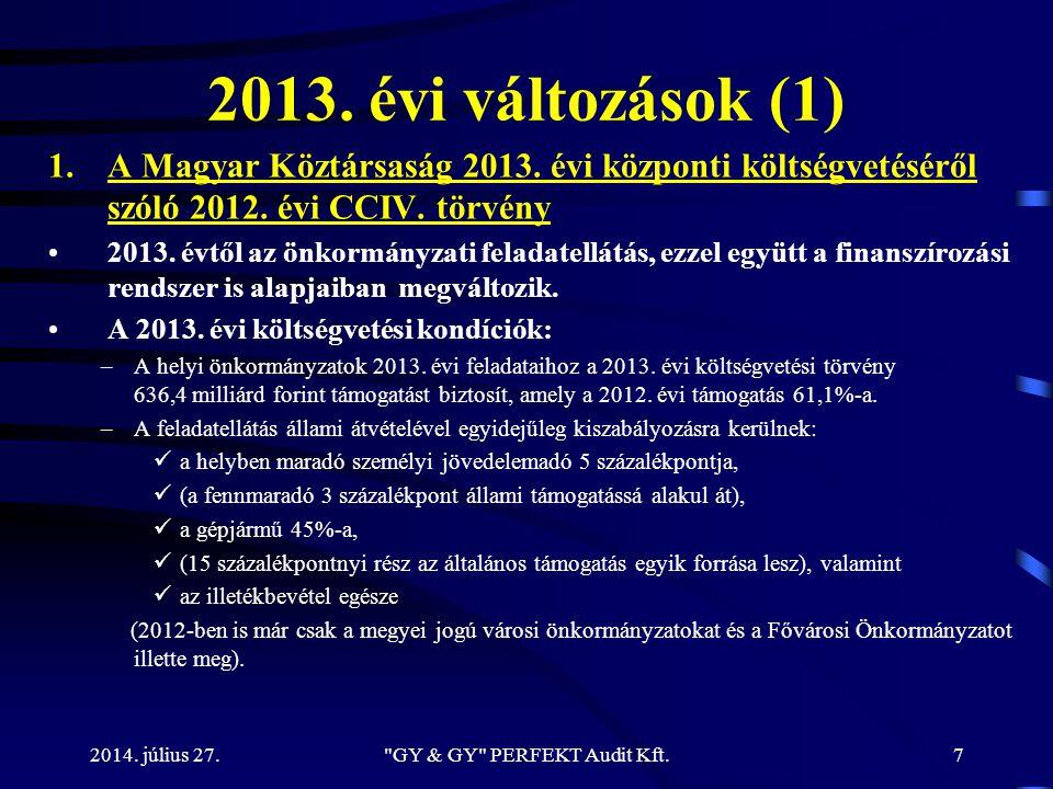 2013. évi változások (1) 1.A Magyar Köztársaság 2013. évi központi költségvetéséről szóló 2012. évi CCIV. törvény 2013. évtől az önkormányzati feladat