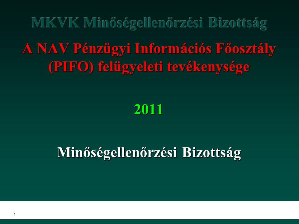 1 A NAV Pénzügyi Információs Főosztály (PIFO) felügyeleti tevékenysége 2011 Minőségellenőrzési Bizottság