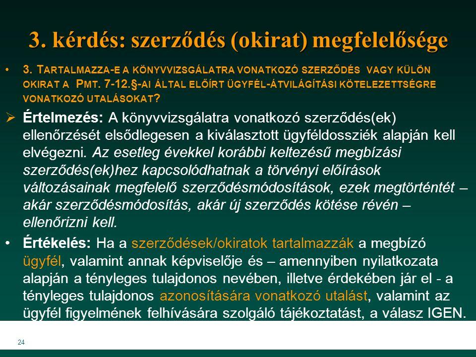 24 3. kérdés: szerződés (okirat) megfelelősége 3. T ARTALMAZZA - E A KÖNYVVIZSGÁLATRA VONATKOZÓ SZERZŐDÉS VAGY KÜLÖN OKIRAT A P MT. 7-12.§- AI ÁLTAL E