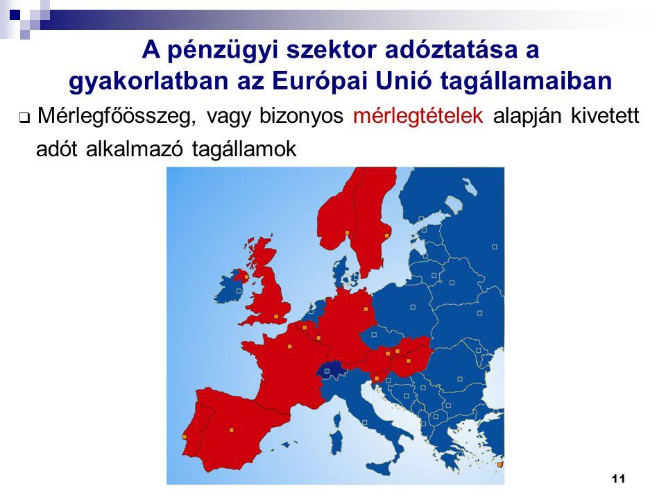 11 A pénzügyi szektor adóztatása a gyakorlatban az Európai Unió tagállamaiban  Mérlegfőösszeg, vagy bizonyos mérlegtételek alapján kivetett adót alka