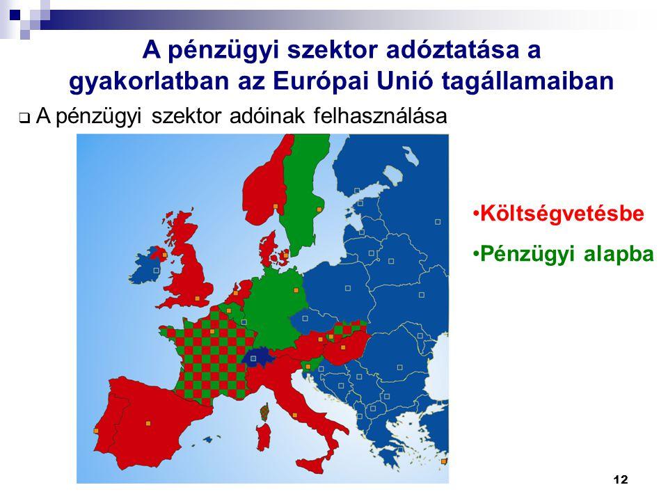 12 A pénzügyi szektor adóztatása a gyakorlatban az Európai Unió tagállamaiban  A pénzügyi szektor adóinak felhasználása Költségvetésbe Pénzügyi alapb