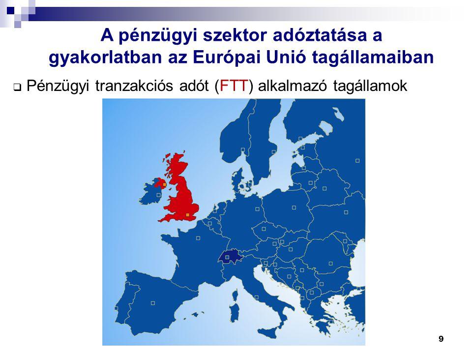 9 A pénzügyi szektor adóztatása a gyakorlatban az Európai Unió tagállamaiban  Pénzügyi tranzakciós adót (FTT) alkalmazó tagállamok