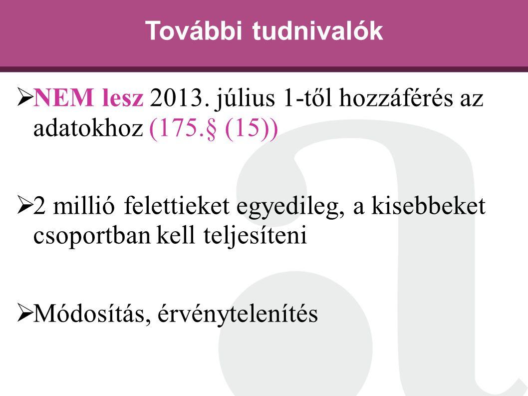 További tudnivalók  NEM lesz 2013. július 1-től hozzáférés az adatokhoz (175.§ (15))  2 millió felettieket egyedileg, a kisebbeket csoportban kell t
