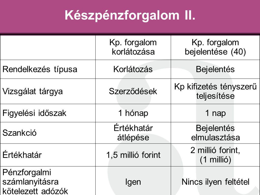 Készpénzforgalom II. Kp. forgalom korlátozása Kp. forgalom bejelentése (40) Rendelkezés típusaKorlátozásBejelentés Vizsgálat tárgyaSzerződések Kp kifi
