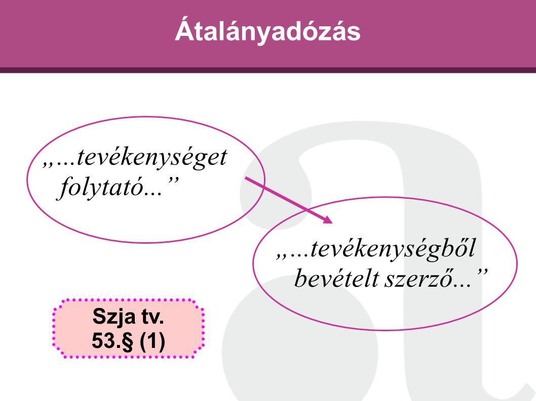 """Átalányadózás """"...tevékenységet folytató..."""" Szja tv. 53.§ (1) """"...tevékenységből bevételt szerző..."""""""