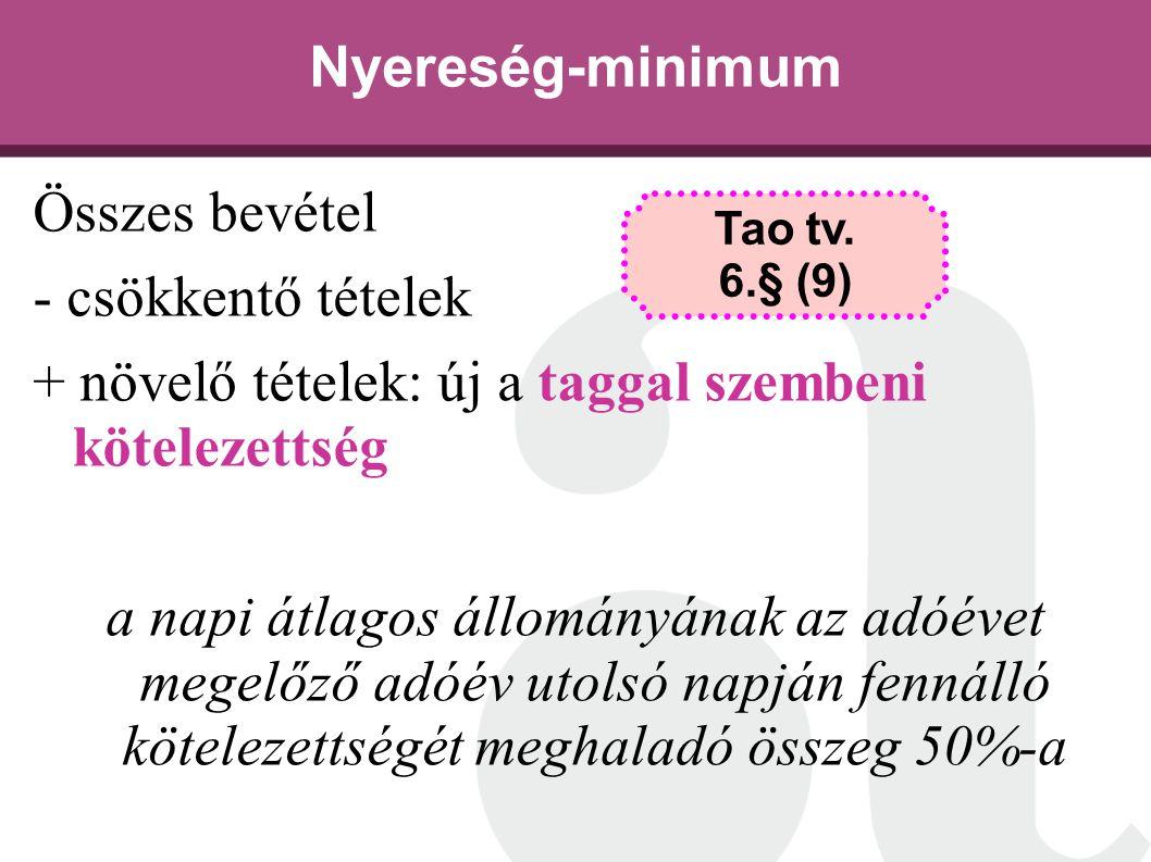 Nyereség-minimum Összes bevétel - csökkentő tételek + növelő tételek: új a taggal szembeni kötelezettség a napi átlagos állományának az adóévet megelő