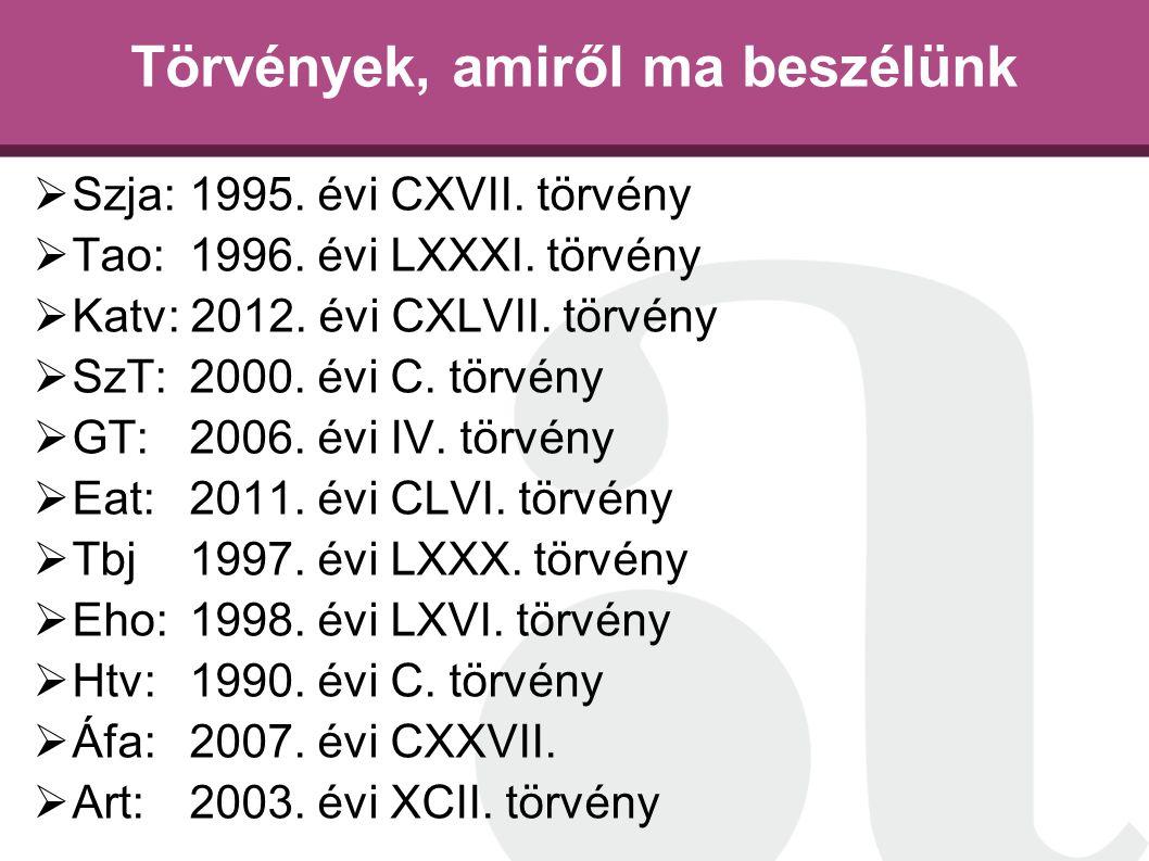 Törvények, amiről ma beszélünk  Szja: 1995. évi CXVII. törvény  Tao: 1996. évi LXXXI. törvény  Katv: 2012. évi CXLVII. törvény  SzT: 2000. évi C.