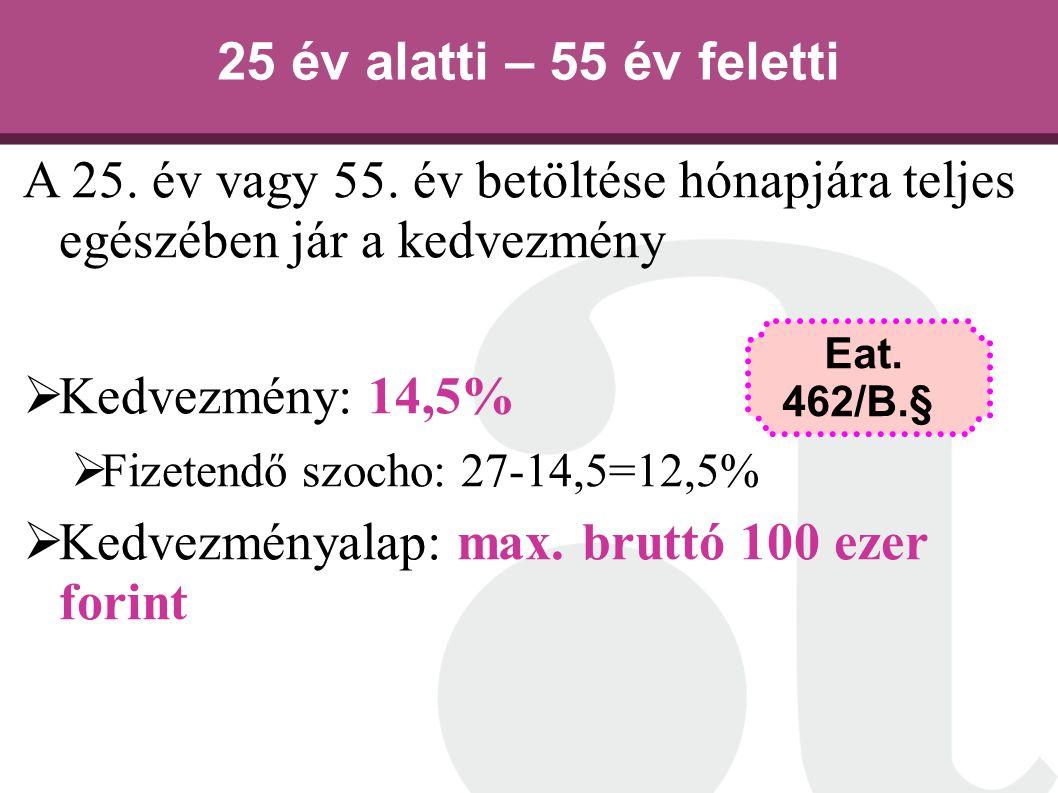 A 25. év vagy 55. év betöltése hónapjára teljes egészében jár a kedvezmény  Kedvezmény: 14,5%  Fizetendő szocho: 27-14,5=12,5%  Kedvezményalap: max