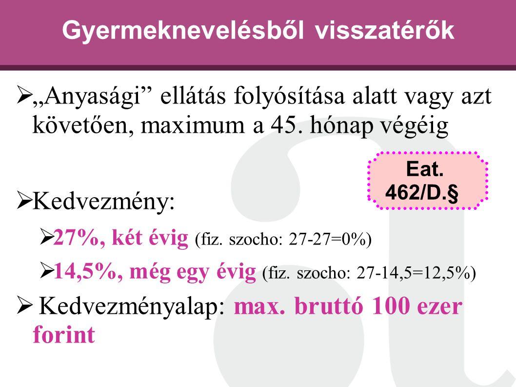 """ """"Anyasági"""" ellátás folyósítása alatt vagy azt követően, maximum a 45. hónap végéig  Kedvezmény:  27%, két évig (fiz. szocho: 27-27=0%)  14,5%, mé"""