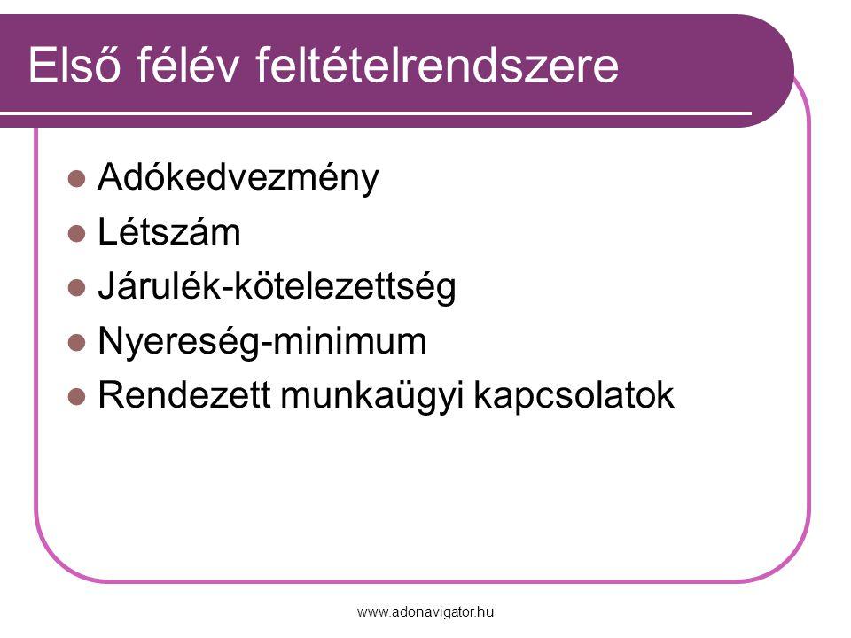 www.adonavigator.hu Első félév feltételrendszere Adókedvezmény Létszám Járulék-kötelezettség Nyereség-minimum Rendezett munkaügyi kapcsolatok
